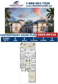 Check out this stunning Contemporary design, Plan 5565-00124 is highlghted by 3,251 sq. ft., 4 bedrooms, 4.5 bathrooms, a lanai, a study area, and a kitchen island. Visit our website for more details about this design today. Contemporary House Plans, Contemporary Design, Study Areas, Car Covers, Lanai, Square Feet, Kitchen Island, Floor Plans, America
