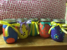 Hand Painted Mason Jars by HansCanvs on Etsy, $12.00