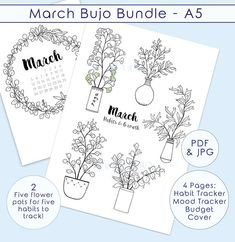 A bullet journal PRINTABLE kit for March - a monthly planner pages set inspired by eucalyptus plants and wreath drawings for coloring. Cover Page | Habit Tracker | Mood Tracker | Savings Tracker ... with my hand-drawn art to give a unique spring flair to your journaling practice this month.