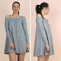 Glamorous Grey Marl Long Sleeve Off The Shoulder Swing Dress   £16.00 * At Pink Cadillac Boutique www.pinkcadillac.co.uk