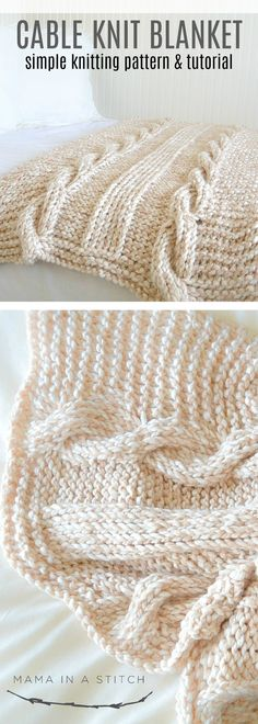 441007242961 Beautiful chunky free knit cabled blanket. There are also photos and links  to a tutorial