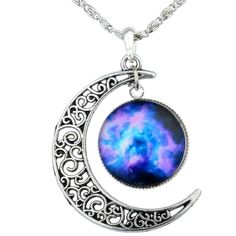 Yantu Purple Blue Women's Crescent Moon Galactic Universe Cabochon... (35 BRL) ❤ liked on Polyvore featuring jewelry, necklaces, purple necklace, purple pendant necklace, purple jewellery, blue jewelry and blue necklace