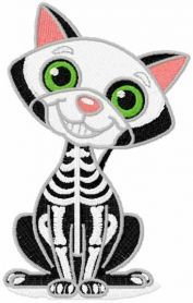 Cat skeleton embroidery design. Machine embroidery design. www.embroideres.com