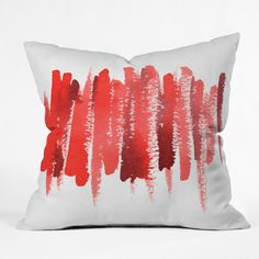 Social Proper Red Strokes Throw Pillow | 30% off as part of 12 Days of Holiday sale! #DenyHoliday