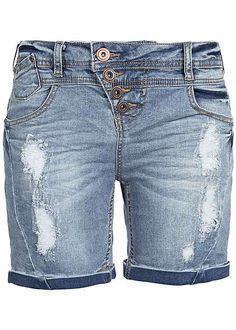 Eight2Nine Damen Jeans Short Destroy Look asym Knopfreihe by Rock Angel mid blue denim Eight2Nine Women Shorts   77onlineshop im Online Shop preiswert kaufen