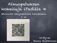 Alkuopetuksen  kokeiluja iPadilla 4  QR-koodit lähiympäristön tutkimisessa  2. lk  cc-by-sa  Jaana Vauhkonen Ipad, Cards Against Humanity, Teaching, Iphone, School, Learning, Education, Teaching Manners, Onderwijs