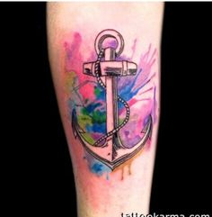 Watercolor tattoo anchor