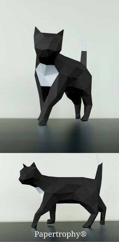 A black and white cat figurine from Papertrophy. It makes a sleek decoration for your office!