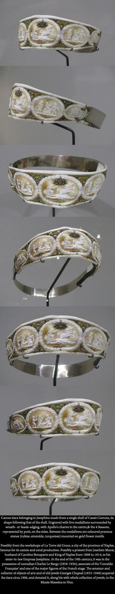 Cameo tiara belonging to Josephine made from a single shell of Cassis Cornuta, its shape following that of the shell. Engraved with five medallions surrounded by wreath- or beads-edging, with Apollo's chariot in the centre,& the 4 Seasons, represented by putti, on the sides. Embellished with rubies, emeralds and turquoises mounted on gold flower motifs. images - Royal Jewels of the World message board