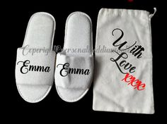 Personalised slippers, personalised gift bag, christmas gift bag, personalized…