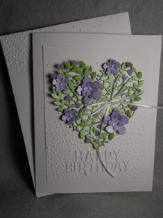 Homemade Cards Discover Lacy heart floral heart heart w flowers green heart tiny purple flowers Happy Birthday heart blank inside embossed very dimensional Pretty Cards, Love Cards, Happy Birthday Hearts, Purple Cards, Birthday Cards For Women, Embossed Cards, Stamping Up Cards, Heart Cards, Greeting Cards Handmade