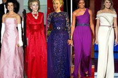 First Lady Portraits, Oscar Dresses, Formal Dresses, American First Ladies, Golden Dress, Ladylike Style, High Fashion, Womens Fashion, Donna Karan