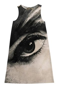 "This iconic ""Eye"" dress was one of five styles designed by Harry Gordon. I might try and do a version of this myself with some bleach. Its Audrey Hepburn's eye."