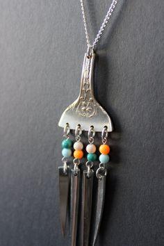 Fork Tine Necklace from Spoonsandsuch on Esty! Fork Jewelry, Hippie Jewelry, Metal Jewelry, Jewelry Art, Antique Jewelry, Silver Jewelry, Jewelry Design, Tribal Jewelry, Jewlery
