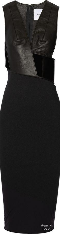 Dion Lee Black Orbit Leather and Jerseycrepe Dress