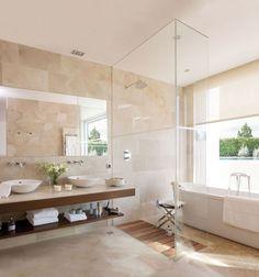 30 Calm And Beautiful Neutral Bathroom Designs - DigsDigs Bathtub Shower, Bathroom Spa, Master Bathroom, Neutral Bathrooms Designs, Bathroom Design Luxury, Bathroom Designs, Travertine Bathroom, Bathroom Inspiration, Home Decor