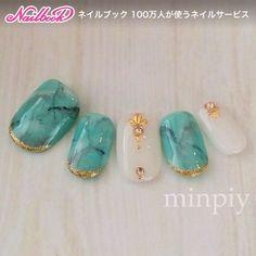 turquoise white nail art