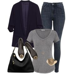 Navy Blue Blazer. T-shirt & Hobo Bag by coolchick1630 on Polyvore featuring polyvore, fashion, style, maurices, Topshop, Tory Burch, Michael Kors, ALDO and clothing