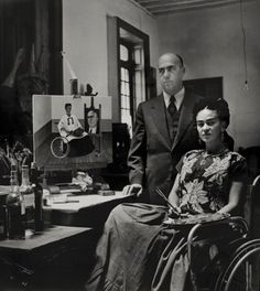 Frida Kahlo with Doctor Juan Farill by Gisèle Freund, 1951.