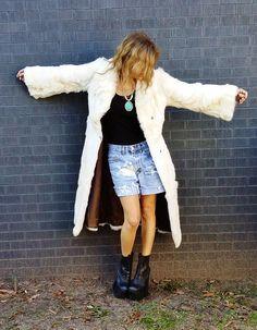 Chevron Rabbit Fur Carrie Coat / Tuck it now at BIBANDTUCK.COM