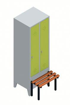 Garderobenschrank mit zwei Abteilen. Ausführung: Einsteckbarer Hutboden mit Garderobenstange und drei Schiebehaken.  Maße: 1850mm hoch, 610mm breit, 500/815 (inkl. Sitzbank) mm tief