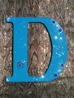 Wood Letter D, Teal with Glitter and Sequins on Etsy, $15.00