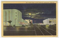 NBC Radio City Night Hollywood Los Angeles CA postcard. $5.00, via Etsy.
