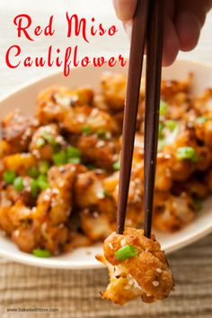 This Asian-inspired Red Miso Roasted Cauliflower is packed with the hearty, rich flavor you would expect from kicking it up a notch with red miso paste! Better yet, this is a quick side dish for any meal…mix up your sauce and toss some cauliflower to coat Quick Side Dishes, Vegetable Side Dishes, Vegetable Recipes, Vegetarian Recipes, Cooking Recipes, Healthy Recipes, Healthy Eats, Asian Side Dishes, Delicious Recipes