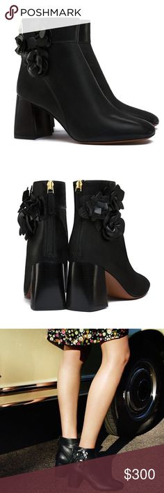 "Tory Burch Blossom bootie ankle boots Brand new in box with dustbag adorable blossom booties by Tory Burch.  Calf leather upper, 2.75"" stacked flared heel.  Pet free smoke free posher. Tory Burch Shoes Ankle Boots & Booties"