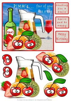 Pimms...4 0f your 5 a day - decoupage by Cynthia Massey A large jug of Pimm's with 4 different fruits, lots of layers for decoupage,…