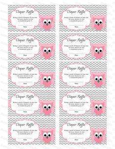 Owl Baby Shower Diaper Raffle Ticket Diaper Raffle ...
