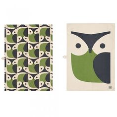 Orla Kiely Owl Tea Towels Pair