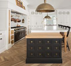 Butcherblock end table off island....LOVE THIS ENTIRE KITCHEN!! #HomeAppliancesStore