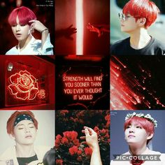 BTS aesthetics - red with Taehyung