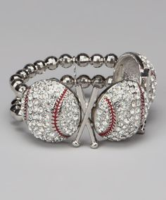 Red & Clear Baseball Trio Stretch Bracelet on #zulily today!