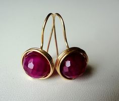$8 Starting Bid: Natural Fuchsia Agate Gemstone Golden Wire Wrapped #Earrings