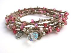 Romantic+crochet+wrap+bracelet++pink+valentine+di+3DivasStudio,+$35,00