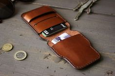 Handmade Leather Wallet Slim Mens Wallet Minimalist Front