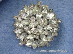 Vintage Cluster Brooch Clear Rhinestone Pin Silver Tone Unsigned Weiss? Juliana? #Unbranded