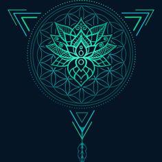 Lotus Flower Of Life Mandala In Geometric Triangle Sticker By Rogie Design By Hu. Lotus Flower Of Lotus Flower Art, Lotus Flower Tattoo Design, White Lotus Flower, Lotus Art, Flower Mandala, Lotus Design Tattoos, Lotus Mandala Design, Paisley Tattoos, Buddha Tattoos