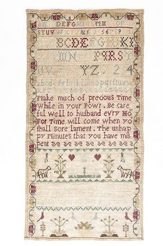 Sampler, by Ann Wragg, March 21, 1764 by Charleston Museum