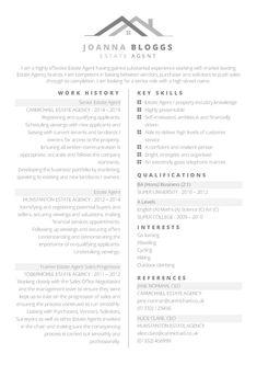 Free professional Estate Agent CV template - CV Template Master
