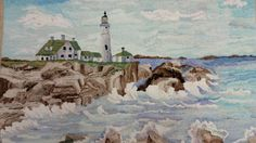 VINTAGE Hand HOOKED RUG 1954 Portland Head Lighthouse PEARL MC GOWN Design #Hooked