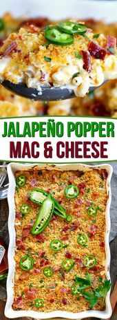The BEST Jalapeño Popper Mac and Cheese you'll ever try! - CasserolesThe BEST Jalapeño Popper Mac and Cheese you'll ever try! Extra creamy, loaded with bacon, cream cheese, and jalapeños, this delicious and easy mac and cheese is sure to be a n Macaroni Cheese Recipes, Pasta Recipes, Cooking Recipes, Healthy Recipes, Cream Cheese Recipes Dinner, Bacon Dinner Recipes, Bacon Meals, Bacon Casserole Recipes, Best Dinner Recipes Ever