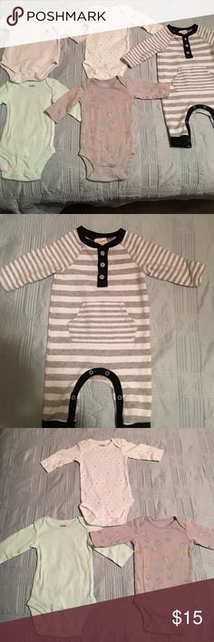 5 piece lot, 0-3 mos This 5 piece lot includes a long sleeved one piece by Cat and Jack, a white onesie by Gap, and 3 onesies by Carters. All items are in great condition. One Pieces Bodysuits