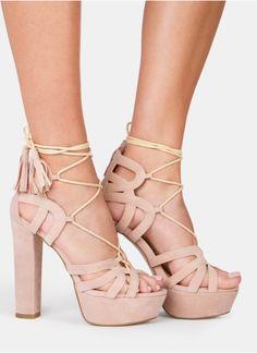 Cieliste wiązane sandały na platformie Kora