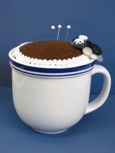 Coffee Mug Pincushion Repurposed Mug by stitchuation on Etsy, $11.00