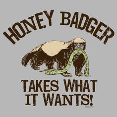 The Duck Company - Honey Badger Takes What it Wants Men's T-Shirt, $20.00 (http://duckco.com/takes-what-it-wants-honey-badger-t-shirt/)