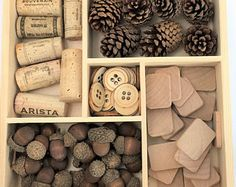 Loose Parts Kit / Reggio Inspired / Montessori / Waldorf / Preschool / Open-Ended / Corks / Pine Cones / Acorns / Wood Buttons/Wooden Tiles