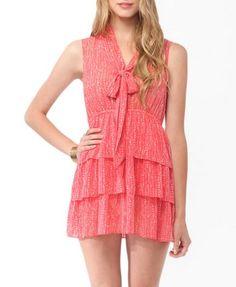 Tiered Speckled Print Dress (Coral/Beige). Forever 21. $17.80